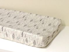 Baby Changing Pad Cover Leaflet Dawn Grey by FernLeslieBaby