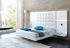 Fenicia contemporary floating bed set with built in sound system - Main Image