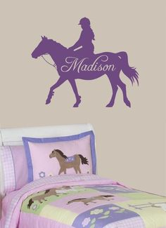 Equestrian Horse Wall  Decal - match quilt or bedding, name of your choice