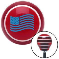 Blue US Flag Red Stripe Shift Knob with M16 x 15 Insert