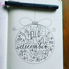 """24 Likes, 1 Comments -  bujomirte  (@bujomirte) on Instagram: """"My december cover in pen. I'll fill it in later. Inspired by a photo on Pinterest! Do you have your…"""""""