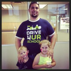 Sam and his kids at #drive4urschool #brinsonford