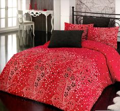 Custom Queen or Full Size Red and Black Floral Dots by MyveraLinen, $85.00