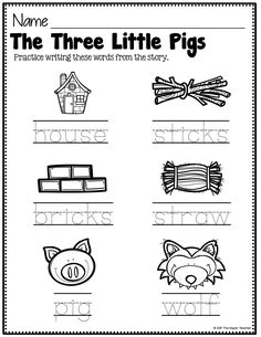 Click here to read how I use these Three Little Pigs printables for a practical story lesson! Story elements anchor charts, coloring pages, story retelling worksheets, writing worksheets, and word wall words all work together to make your teaching super low prep and easy.