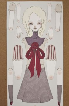 Little Mina Jointed Movable Paper Doll by inkingcap on Etsy, $12.00