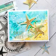 Penny Black Cards, Beach Cards, Ocean Scenes, Beautiful Ocean, Alcohol Inks, Gold Sparkle, White Ink, Starfish, Watercolor Paper