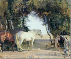 Alfred J Munnings - Alfred Munnings - Hampshire Thorn Trees Painting