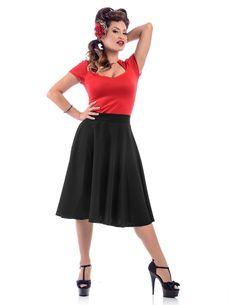 Steady Clothing Plus High Waist Pin-up Office Lady Black Swing Circle Skirt