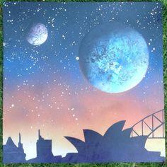 Spraypaint on canvas . Did this to go onto merchandice at  quirky happy art#quirkyhappy #bhd #boylanhotdesigns #planets #space #sydney #spraypaint #sydneyharbourbridge #sydneyoperahouse #art #sprayart #dopestyle by boylan_hot_designs http://ift.tt/1NRMbNv