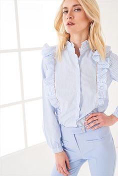 Çizgili Fırfır Ve Yaka Detaylı Kadın Gömlek