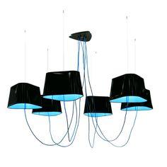 GRAND NUAGE - Lustre L 6 Lumières Noir/Bleu DesignHeure