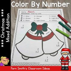 Five Color By Numbers Christmas Math Mixed Subtraction Facts and Answer Keys. Perfect for the busy time of year for kindergarten, first grade and second grade classes. Subtraction Activities, Addition Activities, Fun Activities, Christmas Math Worksheets, Kindergarten Math Worksheets, Christmas Color By Number, Christmas Colors, Christmas Mix, Christmas Ideas