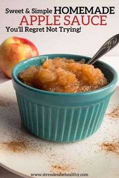 Try my easy homemade applesauce recipe that my kids won't stop asking me to make them as a healthy snack! | gluten free | sugar | cinnamon | families | fall | fun | chunky | best | for kids | #applesauce #applerecipes #veganrecipes #healthyrecipes Easy Applesauce Recipe For Kids, Cinnamon Applesauce Recipe, Homemade Applesauce, Sweets Recipes, Real Food Recipes, Snack Recipes, Cooking Recipes, Healthy Recipes, Desserts