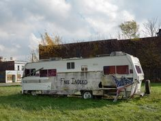 Dave Jordano Photography - Abandoned Trailer Home with Graffiti, Chene Avenue, Detroit 2011