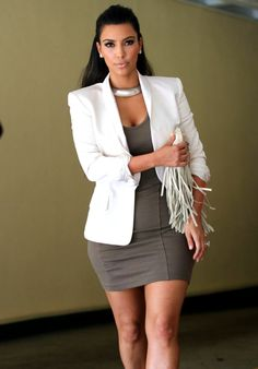 Want this outfit   #WhiteBlazer #GreyDress #Outfits #KimKardashian