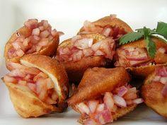 Stuffed Bajji's with Onion Masala Vizag Beach Style!   Would saute' onions slightly!