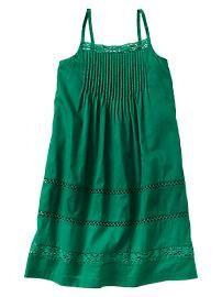 Pintuck crochet-trim dress
