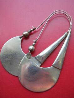 SPADE EARRING - LARGE - tribal ethnic artisan silver earring
