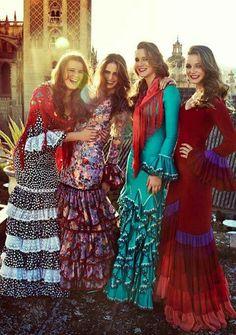 Flamenca dresses for the Feria de Abril in Seville, Spain