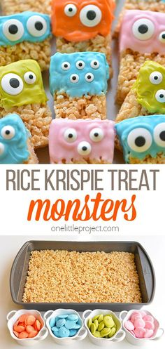 These Rice Krispie Treat Monsters are SO EASY to make, and they're completely adorable! How fun would they be for a Halloween party? Or even a monster birthday party? You could wrap them individually in some clear cellophane with a ribbon and a cute little tag to send as a Halloween treat to school. So fun! Halloween Treats For Kids, Halloween Baking, Halloween Desserts, Halloween Party, Halloween Cupcakes, Halloween Night, Rice Krispie Treats, Rice Krispies, Preschool Birthday Treats