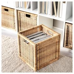 IKEA - BRANÄS, Basket, rattan, Perfect for newspapers, photos or other memorabilia. Easy to pull out and lift as the basket has handles. Each basket is woven by hand and is therefore unique. The box fits perfectly in KALLAX shelf. Kallax Shelf Unit, Kallax Shelving, Ikea Basket, Rattan Basket, Box Ikea, Ikea Kallax Boxes, Ikea Kallax Regal, Wood Hinges, Rack Tv