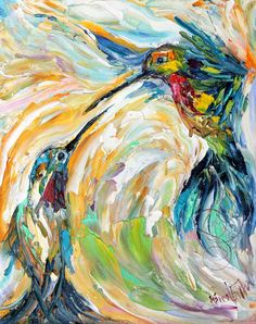 HummingBird Painting Original impasto oil by Karensfineart on Etsy