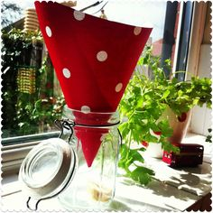 fruit fly trap made from a jar, a paper cone and some old fruit
