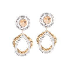 Gold and Silver Swarovski crystal earrings made with white and yellow gold design. Hypoallergenic, excellent quality, great for everyday use