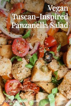 This delicious vegan Tuscan-inspired Panzanella Salad is truly perfect for the warmer summer days. A bright, tangy dressing paired with crispy oven-baked ciabatta, cherry tomatoes, onions, sun-dried tomatoes, Kalamata olives, roasted red peppers and capers! #vegan #salad #vegansalad #saladphotography #panzanellasalad Dried Tomatoes, Cherry Tomatoes, Kalamata Olives, Roasted Red Peppers, Ciabatta, Sun Dried, Oven Baked, Plant Based Recipes, Summer Days
