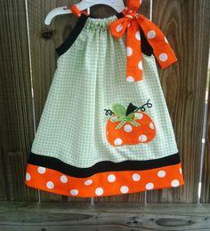 Halloween and fall pumpkin pillowcase dress. $28.00, via Etsy.