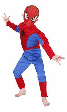Linda Fantasia Homem Aranha / SpiderMan Infantil com musculo Deluxe Rubies :: FantasiasCarol