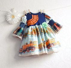 Vintage Trains Toddler Dress 3T Girls Clothes Navy by MyFairMaiden, $59.00