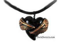 Goth Necklace  - Love's Embrace - Handmade Winged Heart Pendant - Jewelry - Gifts under 20