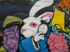 I'm late, I'm late, for a very important date. (Graffiti - Tacoma, WA) - photo © 2010 Meri Arnett-Kremian