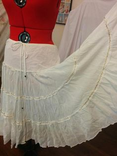 BUY IT NOW! Cotton & Silk Hippie Gypsy Skirt Express Size Small Airy Pure White Large Sweep    eBay