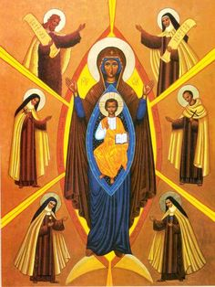 St. Teresa Benedicta of the Cross (Edith Stein); St. Therese of Lisieux (The Little Flower); Elijah; St. Teresa of Avila; St. John of the Cross; Blessed Elizabeth of the Trinity