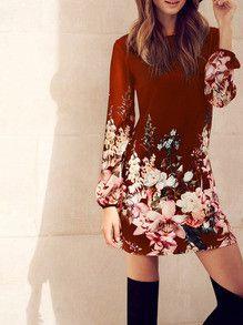 floral dresses, red dresses, date dresses, long sleeve dresses - Lyfie