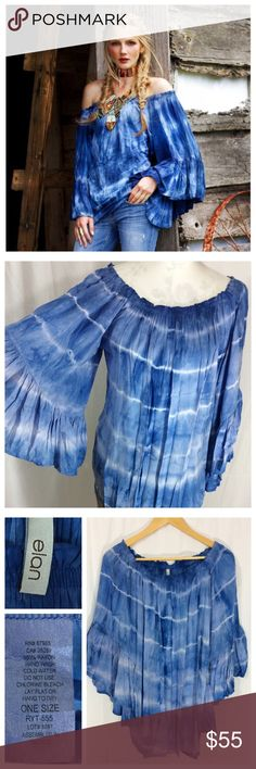 Off-Shoulder Tie Dye Boho Top Pictures do not do this top justice!! Wide elastic neck allows off shoulder wear, exaggerated and flowy sleeves for loose Boho style, non-restricted open waist; all over generous fit. 100% super soft rayon, gorgeous tie-dye design. Love love love this top. One Size by elan. Excellent condition. Tops