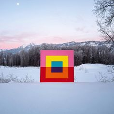we bet your eyes can't quite ascertain if these colorful geometries by andrew faris are digitally inserted, or painted on canvas squares.