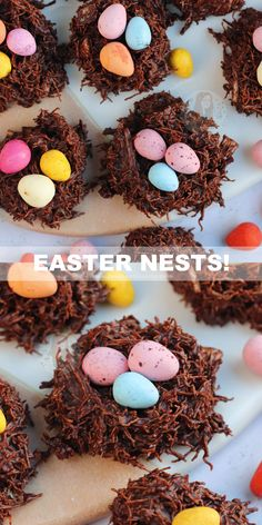 Easy Four Ingredient No-Bake Easter Nests topped with your favourite Easter Chocolates! The best and easiest way to have fun this Easter! Easter Snacks, Easter Treats, Easter Recipes, Easter Desserts, Easter Food, Yummy Recipes, Cake Recipes, Chocolate Easter Nests, Janes Patisserie