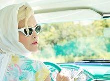 Girl in vintage vehicle