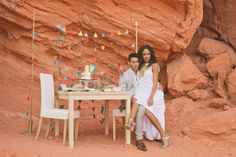 Cactus and Lace Weddings put together a modern styled shoot set in the desert. www.simplyelope.com