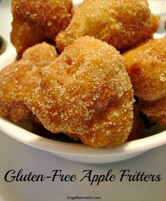Gluten-Free Apple Fritters. Fluffy inside, chok full of juicy apple bits, diciously crispy on the outside, and rolled in cinnamon sugar.