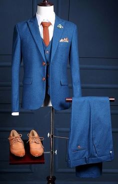 Wedding Suits Navy Blue Tweed Wedding Prom Party Suits For Men 3 Pieces Groom Tuxedos Slim Fit Man Suit Custom Made Blazer Terno masculino - Party Suit For Man, Party Suits, Groom Tuxedo, Tuxedo For Men, Navy Groom, Navy Tux, White Tux, Black Tuxedo, Mens Fashion Suits