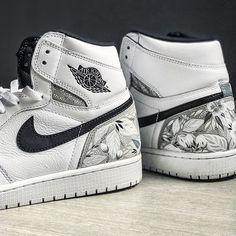 Customized Nike Air Jordan kicks - floral leather paint pattern details, monochromatic textile design, hand-painted custom shoes. 🌸👟🌿