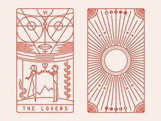 business card inspiration, tarot, line art, clean feels, vintage color scheme The Lovers Tarot Card, The Moon Tarot Card, The Sun Tarot, Hanged Man Tarot, Tarot Card Tattoo, Tarot Cards For Beginners, Tarot Card Spreads, Tarot Card Meanings, Art Deco