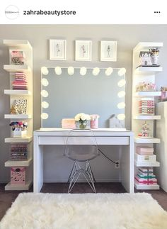 dream rooms for girls teenagers ~ dream rooms . dream rooms for adults . dream rooms for women . dream rooms for couples . dream rooms for girls teenagers . dream rooms for adults bedrooms Vanity Set Up, Vanity Room, Vanity Ideas, White Vanity, Teen Vanity, Closet Vanity, Girls Vanity, Desk To Vanity, Mirror Vanity