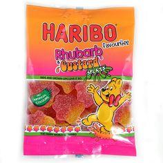 -in USA- Haribo Rhubarb Custard Splats - 80g