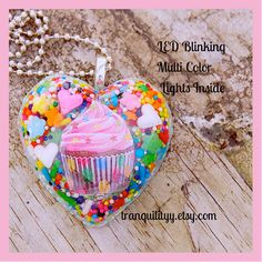 Cupcake Necklace Led Flashing Lights Resin Heart by tranquilityy