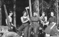 The women, nicknamed 'Lumberjills' carried out work such as felling trees, working in sawmills and driving tractors